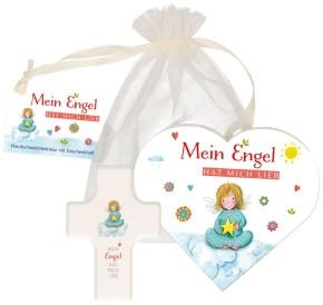 Geschenkset für kleine Kinder: Mein Engel hat mich lieb. Mini-Kinderkreuz aus Holz, Notizheft und Grußkärtchen. Verschenkfertig verpackt.