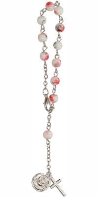 10er Rosenkranz mit weiß-grau-roten Glasperlen