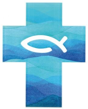 Acrylglas-Kreuz mit Fisch-Symbol durchbrochen