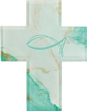 Glaskreuz mit Fischsymbol