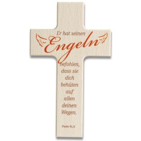 Holzkreuz - Er hat seinen Engeln befohlen