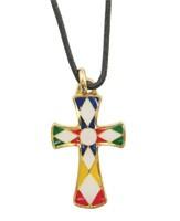 Kreuzanhänger, Metall, mehrfarbig gefüllt, mit Baumwollschnur