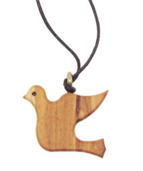 Taube, groß, aus Olivenholz, mit brauner Baumwollschnur