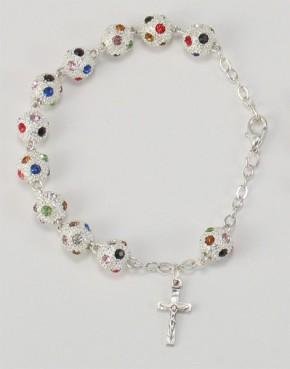 Rosenkranz-Armband aus Keramikperlen - Grundfarbe: Silber