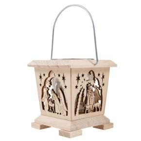 Holz-Windlicht - Krippe