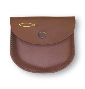 Rosenkranz-Tasche aus Leder mit Fischmotiv