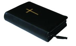 Gotteslobhülle Rindsleder DELUXE mit Motivprägung schwarz - Goldprägung Kreuz
