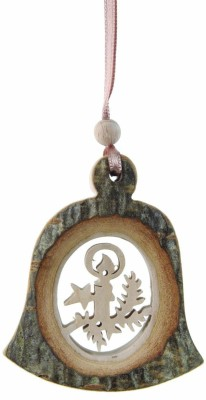 Rindenhänger Glocke - mit Motiv Kerze