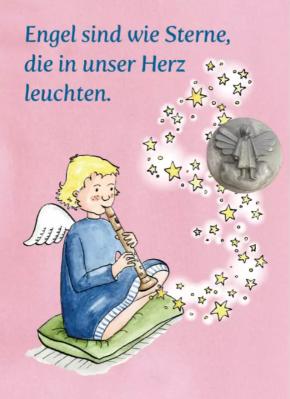 Engel sind wie Sterne …, Plakette Engel auf Kärtchen