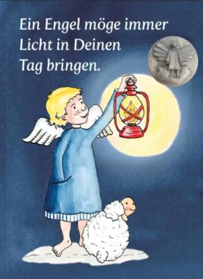 Ein Engel möge immer Licht …, Plakette Engel, auf Kärtchen